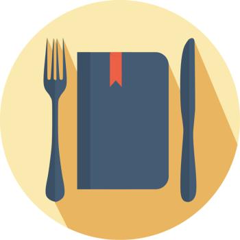 Food for Thought, sharing economy, digital concept, KEA, Copenhagen, elderly, seniors, young, families, child, tutor, pupil, free, food, meal, Manual Design, logo flat