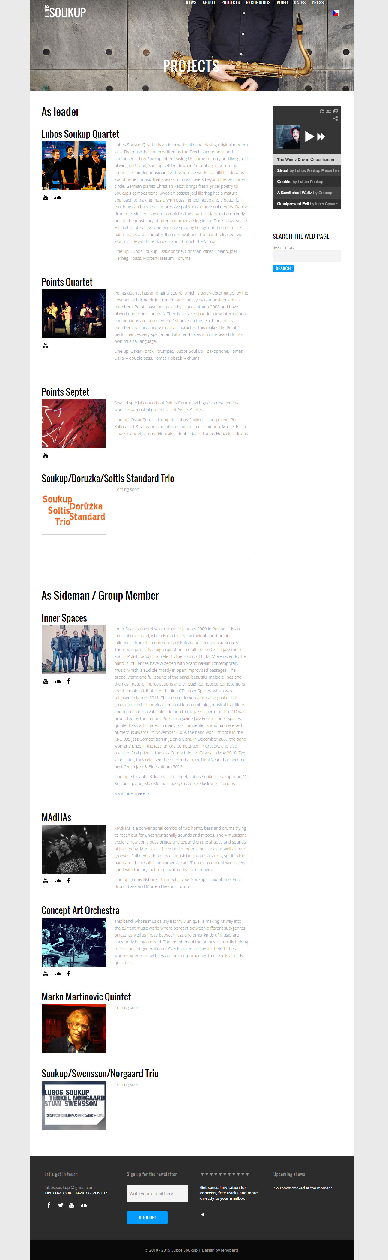 lubossoukup.com, responsive web design, mobile, tablet, laptop, music, musician, jazz, Copenhagen, Prague, Czech republic, Denmark, Search Engine Optimization, SEO, RWD, Lubos Soukup, layout